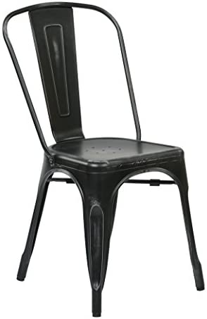 Office Star Bristow Metal Seat and Back Armless Chair, Antique Black, 2-Pack