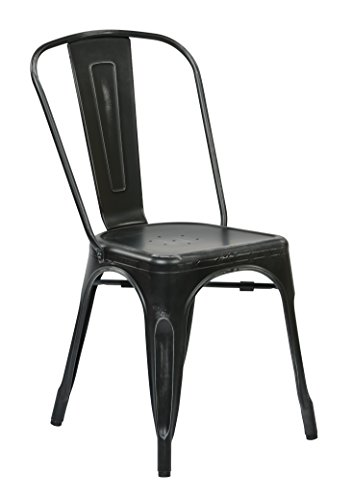 Office Star Bristow Metal Seat and Back Armless Chair, Antiq