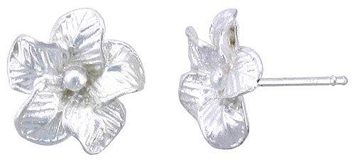 Sterling Silver Hawaiian Flower Post Earrings, 1/2 inch wide