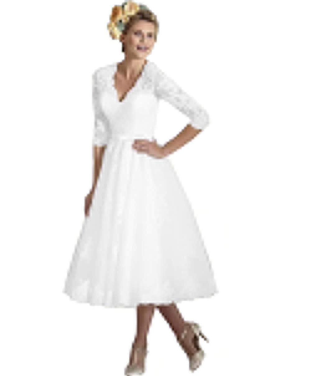 Dreagel Elegant Mid Calf Wedding Dresses Half Sleeve Vintage Bridal