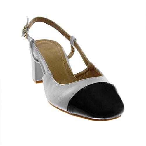 Talon Bicolore Angkorly Verni Chaussure Boucle Haut Sandale Decolleté Bloc Arrière Matière Mode Femme Escarpin BI cm Ouverte Blanc 6 fOqS7fAw