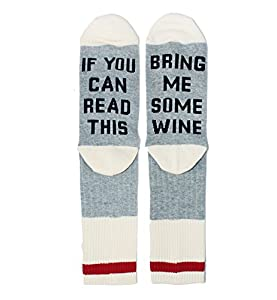 If You Can Read This, Bring me Some Wine Fun Cool Crew Socks