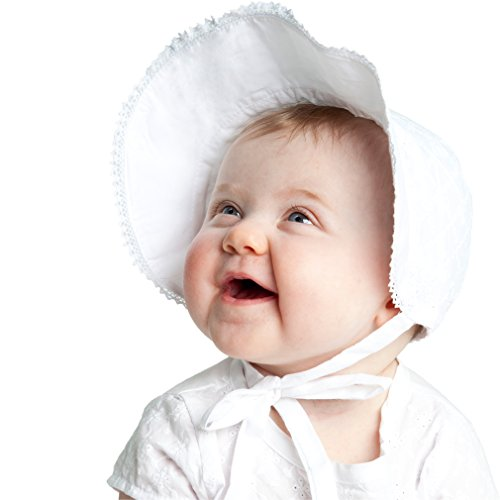 Huggalugs Baby Girls White Bow Sunbonnet ()