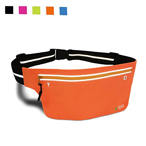 Fitters Niche Running Belt Fitness UltraSlim Waist Pack 2 Pockets, Unisex Fanny Waistband, Water Resistant, Reflective Adjustable Waistband, Fit IPhone 6/6s Plus Samsung, Nexus, (Fit 3 Hidden Elastic)