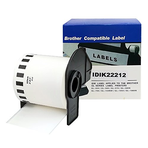 (1Roll DK2212 DK-2212 Brother Compatible Black on White Continuous Length Film Tape Label Roll 2.4 in x 50 ft (62 mm x 15.2 m) with Permanent Cartridge)