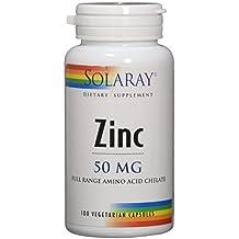 Solaray Zinc Amino Acid Chelate 50 mg VCapsules, 100 Count