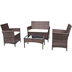 Homall 4 PC Wicker Outdoor Patio Furniture Set Rattan Sofa,Outdoor/Indoor Use for Backyard Porch Garden Poolside Balcony with Beige Cushion (Brown)