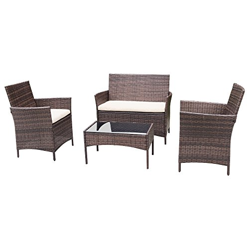 Homall 4 PC Wicker Outdoor Patio Furniture Set Rattan Sofa,Outdoor/Indoor Use for Backyard Porch Garden Poolside Balcony with Beige Cushion (Brown) (Wicker Furniture Front Porch)