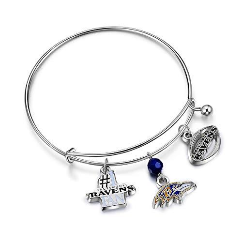 (NFL Baltimore Ravens Three Charm Logo Bracelet)