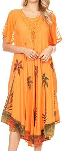 (Sakkas 14610New - Kai Palm Tree Caftan Tank Dress/Cover Up - Copper - One Size Regular)
