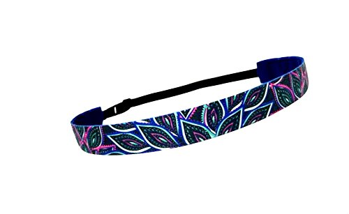 RAVEbandz Exclusive Fashion Headbands (PEACOCK FEATHERS) ñ Adjustable, Non-Slip Sports & Fitness Hair Bands for Women and Girls