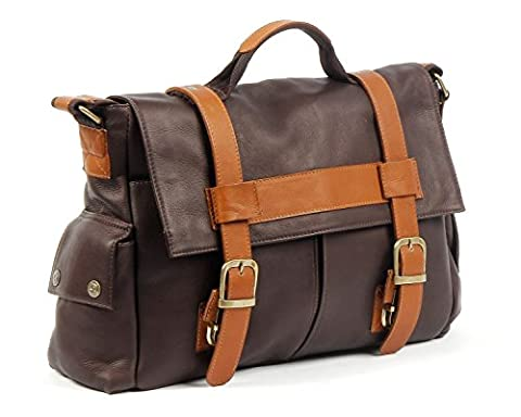 Claire Chase Sochi Messenger-2, Café with Saddle - Claire Chase Leather Messenger
