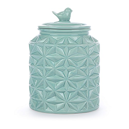 (Turquoise Vintage Ceramic Kitchen Flour Canister/Cookie Jar w/Abstract Star Design & Bird Topped Lid)