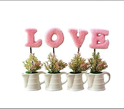 VPlus 4Pcs/Set Pastoral Creative Home Decorations Love Simulation Mini Pot  Mini Artificial Plants Set