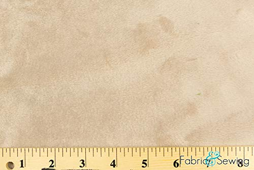 Light Taupe Beige Minky Smooth Soft Solid Plush Faux Fake Fur Fabric Polyester 14 oz 58-60