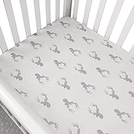 Blue TEALP Crib Sheet Set Boys Toddler Sheet Set Baby Crib Mattress Sheets Set White Navy Nautical Anchor Printed Fit Standard cot Mattress 120 x 60cm 140 x 70cm 2 Pack