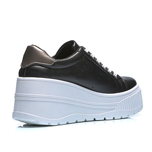 Ginnastica Nero MForshop Sneakers Donna HY1802 Sportive Platform Scarpe Moda Alta Casual Zeppa wwqCPOWE