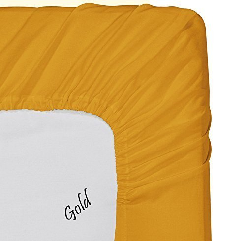 Myra Home Collection Egyptian Cotton 700 Thread Count 1 Piece Fitted Sheet (Bottom Sheet) 15 inch Deep Pocket - Gold, King