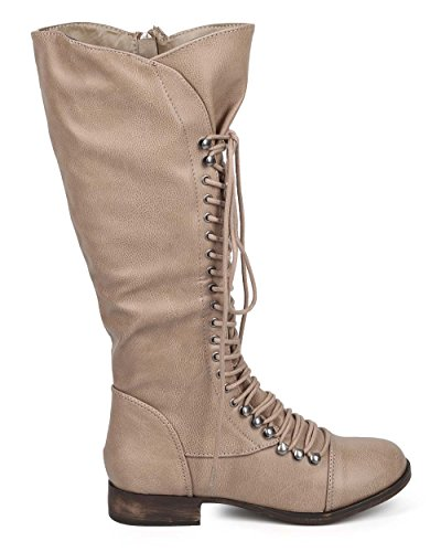 Fourever Funky Women's Synthetic Vegan Leather Toe Cap Lace-Up Knee High Boots Tan suFoOeOkA