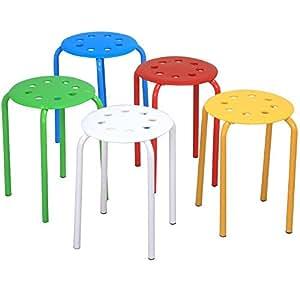 World Pride Set of 5 Round Plastic Stacking Stools Blue/Green/Red/White/Yellow Nesting Bar Stools Set