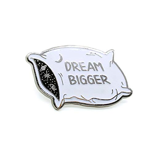 Dream Bigger Pillow Enamel Pin With Stars And Galaxy For Space Lovers