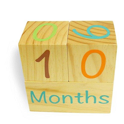 Emmzoe Wooden Photo Blocks Baby Growth Development Wood Portrait Prop (Days, Weeks, Months, Years) by Emmzoe