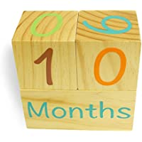 Emmzoe Wooden Photo Blocks Baby Growth Development Wood Portrait Prop (Days, Weeks, Months, Years)