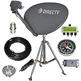DIRECTV 4K SWM3 Complete Kit for Portable Mobile Camping RV Tailgate Trailer, Tripod, RG6 Coax, HDMI, Slimline Dish Reverse B