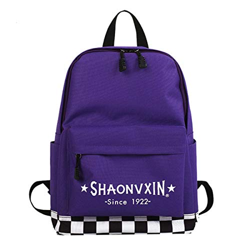 TinTop School Backpack For Teen Girl Fashion Canvas Lattice Backpack For Carry Laptop Book Student