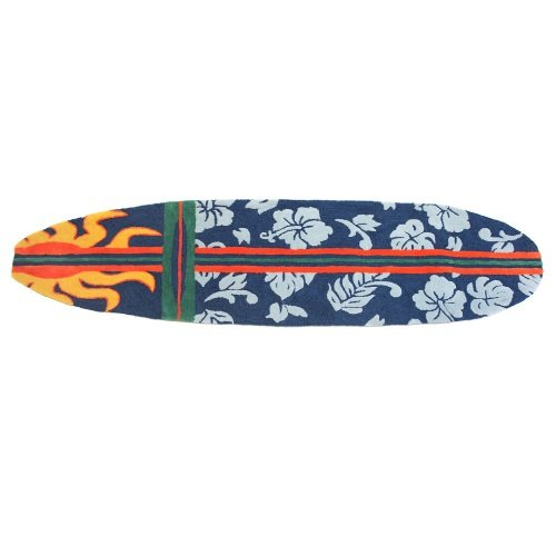 Homefires Accents Surfboard Navy 20-Inch by 72-Inch Indoor Rug,