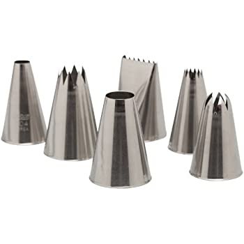 Ateco 787   6 Piece Decorating Tube Set, Includes Stainless Steel Tips:  804, 808, 827, 864, 846, 898