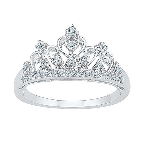 10k White Gold Round Diamond Womens Ladies Crown Tiara Fine Cocktail Band 1/5 Cttw by JawaFashion