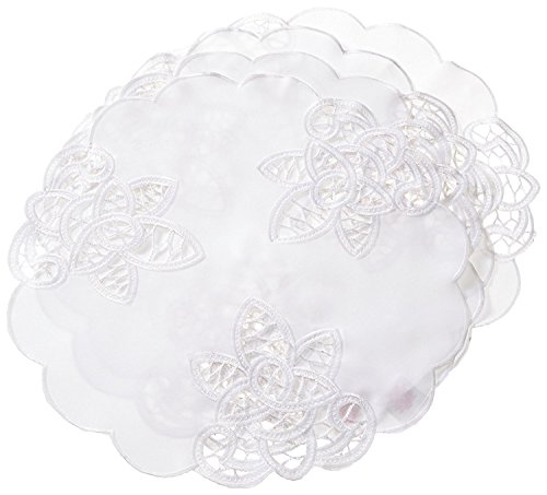 Violet Linen Decorative Battenberg Cutwork Design Placemats, 16