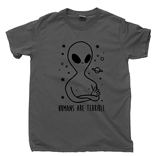 Alien T Shirt Humans are Terrible Extraterrestrial Tee (Large, Dark -