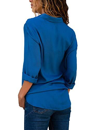 Branch Blouse Large Spcial Elgante Dame Blau Manches Printemps BoBoLily Chemise Femme Loisir Style Long Revers Manche Confortable Haut Longue Automne Shirt 0aFwXq1
