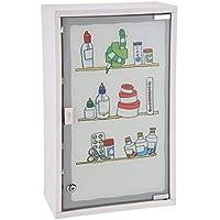 Gabinete de medicina de metal blanco con cristal