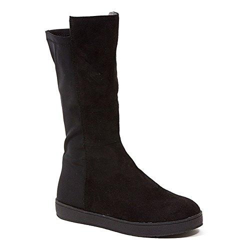 Stivaletto Sneaker Moda Flat In Pelle Scamosciata Francese Blu Stretch