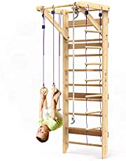 Wooden Swedish Ladder Wall Set – Kids Swedish Ladder Stall Bars for Exercise – Kids Swedish Gymnastic Wall Ladder Gym – Wood Stall Bar Gymnastics Playground – the best Gym for all family and all ages training and stretching – model Sport-2