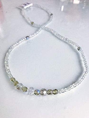 dainty necklace silver layered chokers beaded glass necklace silver necklace Silver beaded necklace /'Ariel/' by Serenity project