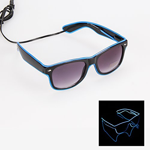 iChase Light Up Party Glasses ,EL Wire Fashion Neon Shutter Electroluminescent Flashing LED Light Safety Sunglasses with 4 Modes for Halloween Christmas Birthday Party Favor (Blue - Is Best Sunglasses Of The What Brand