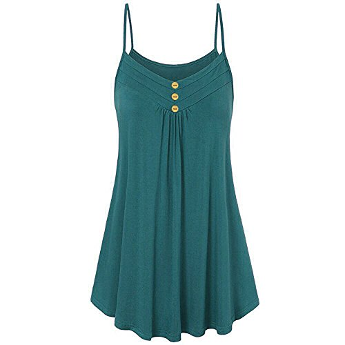 ANJUNIE Women Summer Loose Button V Neck Cami Tank Tops Vest Swing Tunic Top Blouse(Green,S) ()
