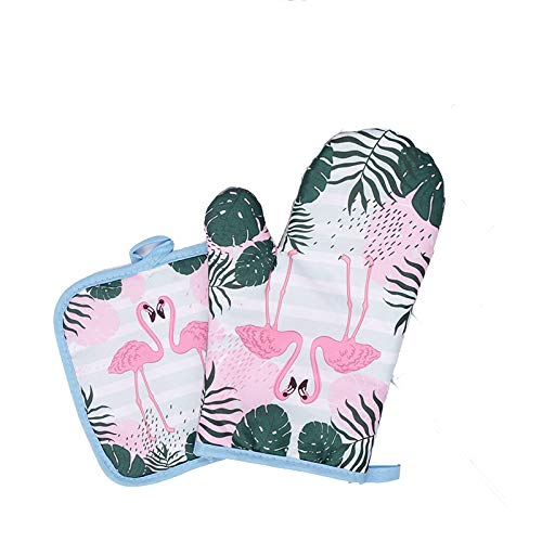1pcs Cotton Oven Mitt and 1pcs Pot Holders-Cotton Heat Resistant Kitchen Oven Glove Perfect for Kitchen Cooking and Baking(Random Pattern)