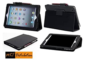 "iPad Mini Case – The New Mini iPad 7.9 Inch / iPad Mini 7.9"" Leather Case Cover and Flip Stand with Stylus Loop and Premium Interior - (Black) Automatically Wakes and Puts Your New iPad Mini to Sleep Every Time -  by MKT iPad Mini Cases"