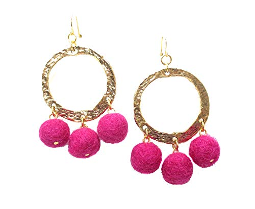 Yochi Goldtone Colorful Designer High Fashion Popular Pom Pom Hoop Earrings (Fuschia) from Yochi