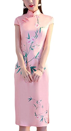 Short 2 Chinese Qipao Sleeve Jaycargogo Dress Cheongsam Women Midi Summer ETqzwZ