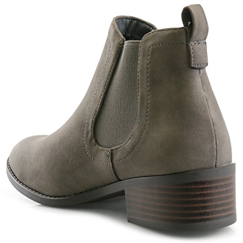 Ankle LUSTHAVE Stacked Low Charlie Grey Boots Elastic Chunky C Chelsea Bootie Women's Heel Casual Eqwr8ET
