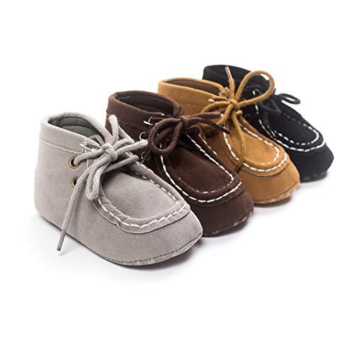 Kuner Baby Boys Faux Suede Lace-up Prewalker Hi-top Toddler Shoes