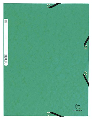 (Exacompta Ref. 55303E Pack of 10 Elastic Folders 3 Flaps Glossy Card 355 GSM, with Back Label, A4, Green)