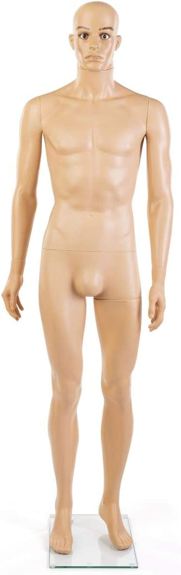 Standing Form Polyprophylene 72 High Displays2go Plastic Male Mannequin with Tempered Glass Base
