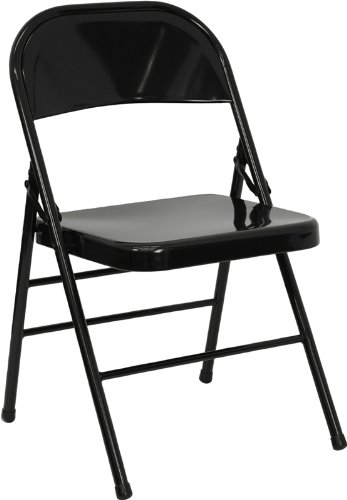 Great Flash Furniture HERCULES Series Triple Braced U0026 Double Hinged Black Metal  Folding Chair